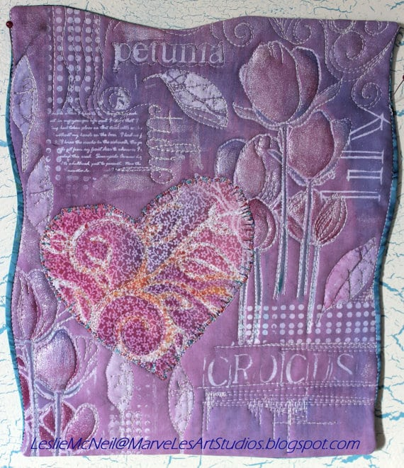 MarveLes VALENTINE LAVENDER SPRING Quilt Tulip Crocus Lily Petunia wall hanging pink purple birthday confirmation anniversary mother's day
