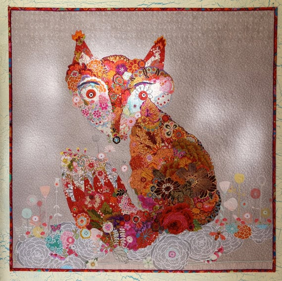 MarveLes FOX COLLAGE Art Quilt Wallhanging Rust Red Yellow Orange Pink White